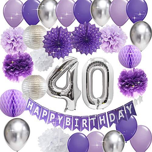 40th Birthday Decorations for Women Purple Silver Happy Birthday Banner Purple Silver Latex Balloons 40th Birthday Balloons Women 40 Birthday/Purple 40th Birthday Decorations for Women