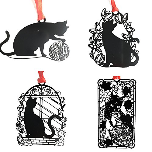 Black Metal Cats Bookmarks As Gift for Cat Lovers - JoyTong Hollow Book Marker (Birdcage cat,Leisure Cats,Ball of Yarn cat,Flower cat), Pack of 4