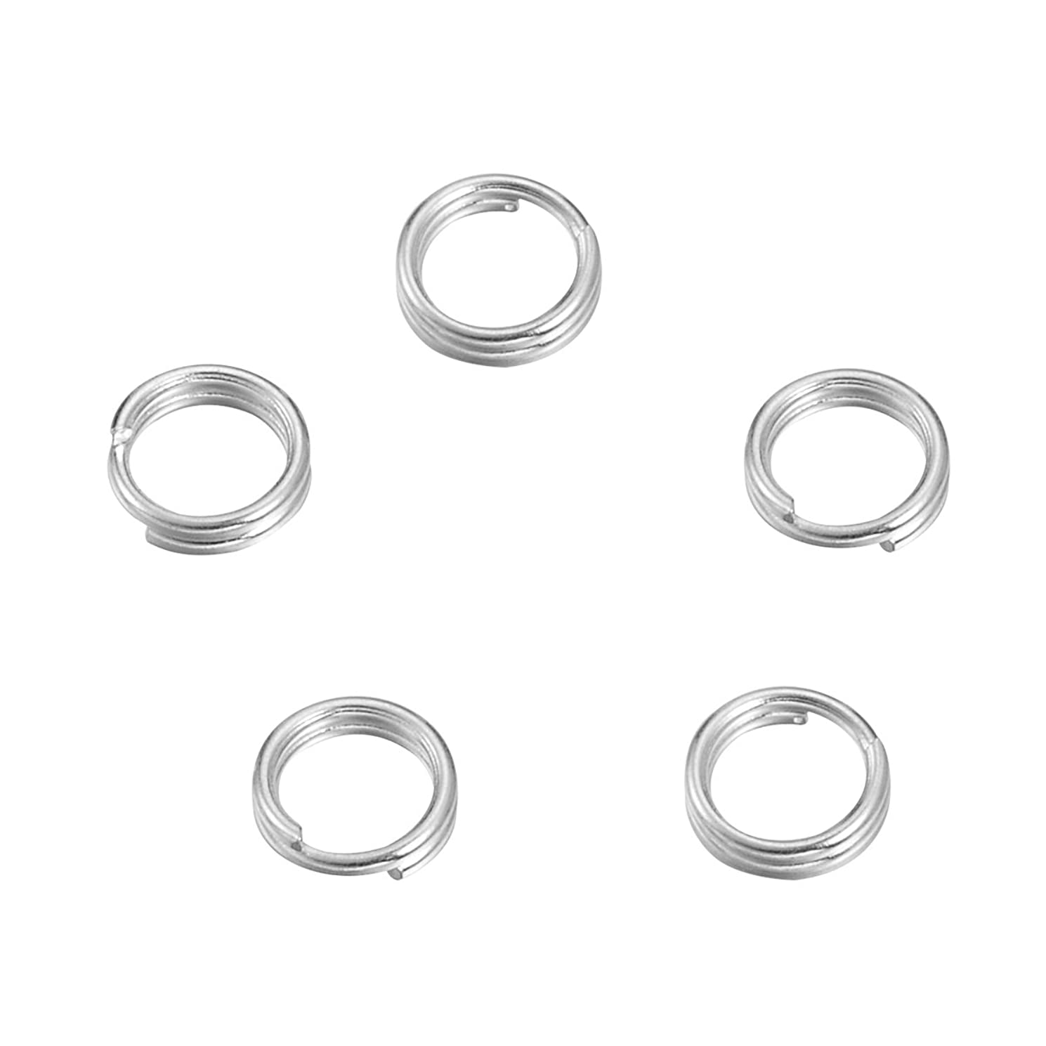 VALYRIA Sterling Silver Split Jump Ring Connector Charm Jewelry Findings,10pcs 7.0mmx0.7mm