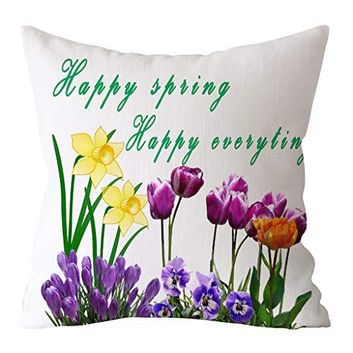 Oppal Funda de Almohada con Estampado de Conejo de Pascua, Funda de cojín de poliéster para sofá, decoración del hogar, Funda de Almohada para el día de Pascua (B)