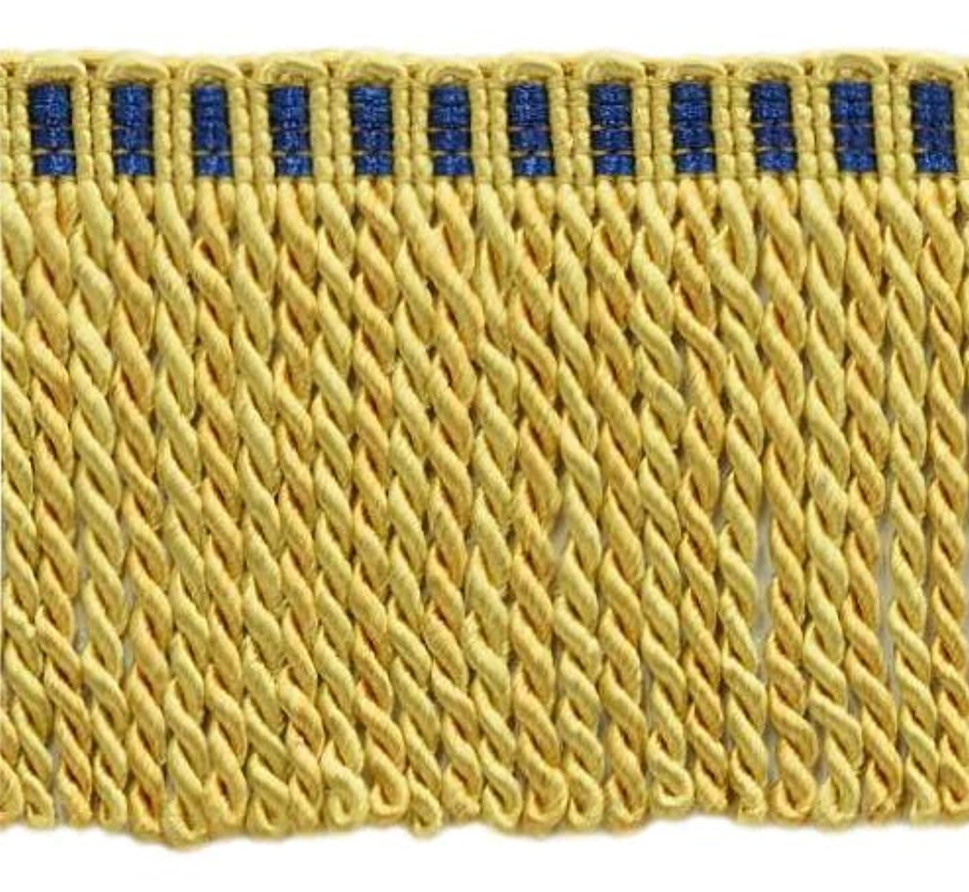 DecoPro 16 Feet Value Pack of 3 Inch Long Bullion Fringe Trim, Style# DB3 - Medium and Light Gold with Blue Header 4875T (5.4 Yards / 5 Meters)