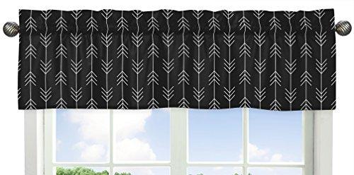 Sweet Jojo Designs - Cenefa de tratamiento para ventana con diseño de flecha en bosque en blanco y negro para colección de parches rústicos