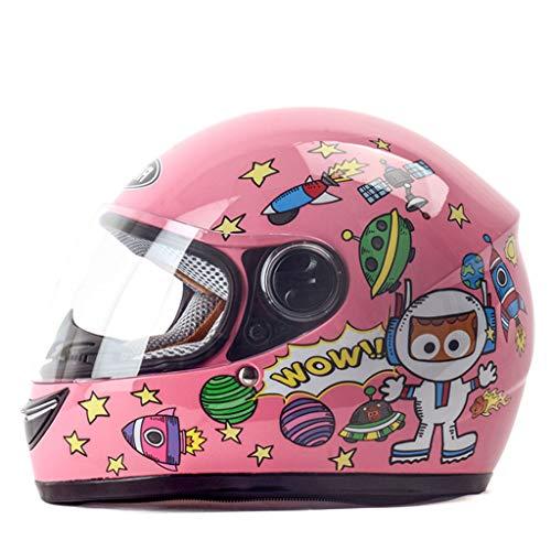 ZXW Casco- Casco Infantil de Invierno cálido para niños y niñas Casco de Moto eléctrico. (Color : Pink, Tamaño : 28x25cm)