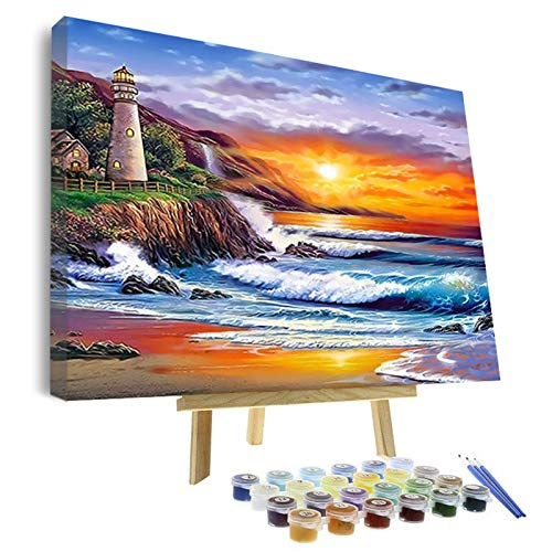 VIGEIYA DIY Paint by Numbers for Adults Include Framed Canvas and Wooden Easel with Brushes and Acrylic Pigment 16x20inch