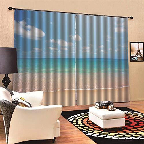 Thermo-gordijnen, ondoorzichtig, voor strand, zee, thermo, moderne ramen, voor slaapkamer, keuken, kinderen, verduistering, raamdecoratie