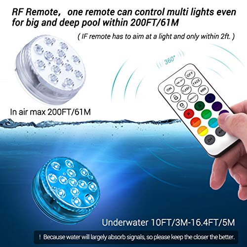 LOFTEK Submersible LED Lights with Magnet,Suction Cup, RF Remote, 13 LEDs Extra-Large Underwater Led Lights IP68 Waterproof 50M/164FT Depth,Battery Operated Decoration Light for Aquarium,Pool, Pond