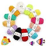 Pelotes de Laine en Acrylique, 12 Couleurs Fil à Tricoter, Mini Pelotes de Laine Multicolores en Acrylique pour Tricot, Idéal pour Tout Projet de Tricot et de Crochet, Les Loisirs Créatifs