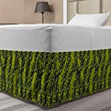 Lunarable Floral Elastic Bed Skirt, Ornamental Illustration of Branches with Leaves in Green Tones Art, Wrap Around Fabric Bedskirt Dust Ruffle for Bedroom, Twin/Twin XL, Lime Green and Olive Green