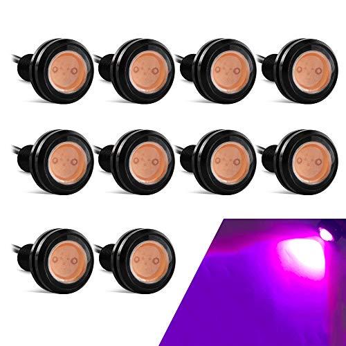 Yifengshun general high-power 9w 23mm LED eagle eye bumper DRL luz antiniebla luz de motocicleta luz diurna DRL luz trasera luz de respaldo motor de coche luz de marca de holgura-Rosado (10 piezas)