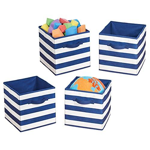 mDesign Juego de 4 cajas organizadoras para guardar juguetes – Cestas de tela a rayas para habitación infantil o dormitorio – Caja de tela con asas, ideal como juguetero – azul marino/blanco