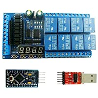 YANHUA DC 12V 8 Channel Pro Mini PLC Relay Shield Module LED Display Cycle Delay Timer Switch Board for Arduino