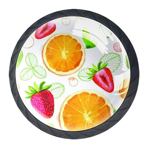 OLEEKA Tirador de manijas de cajón Perillas Decorativas del gabinete del cajón Manija del cajón del tocador 4 Piezas,Naranjas y Fresas