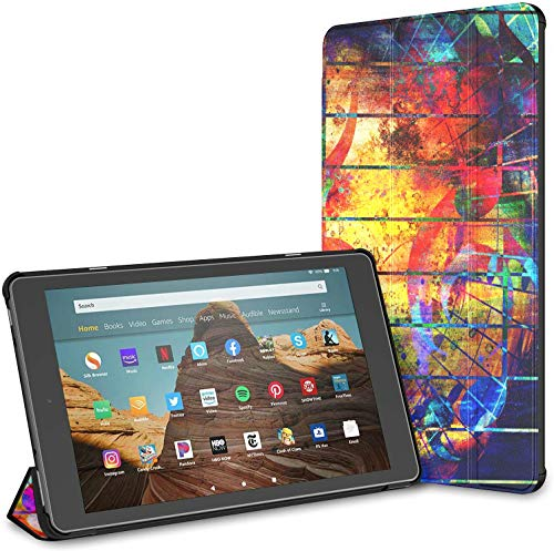 Case For Beautiful Abstract Colorful Collage Music Notes Fire Hd 10 Tablet (9th/7th Generation, 2019/2017 Release) CaseKindle HardCaseForKindle Auto Wake/sleep For 10.1 Inch Tablet