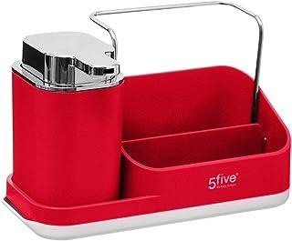 Five - Organiseur d'évier Néo Rouge avec Distributeur de Savon et Support éponges
