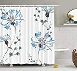 Hdmly Wildflowers Shower Curtain, with Blue Flowers Watercolor Floral Tile Fabric 72x78 Inch Fabric Bathroom Shower Curtain Cloth Polyester Waterproof Bath Curtain Art Bathroom Decor,Blue Gray