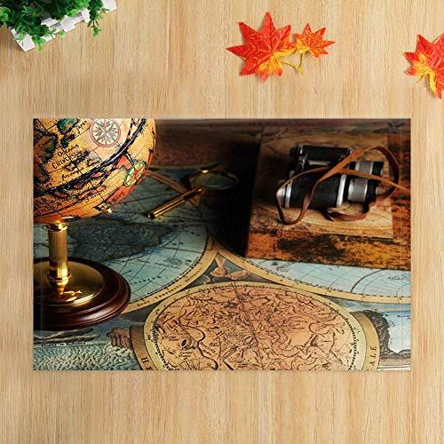 ottbrn Wanderlust Retro-wereldkaart, middeleeuws, antiek, telescopische kaart, bol, antislip, vloer, deurmat, kindertapijt, badmat, 15,7 x 23,6 inch