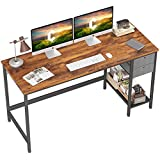 Cubiker Home Office Computer Desk, 55 Inch Study Writing Table with Drawer, Modern Simple Style PC Desk, Dark Rustic