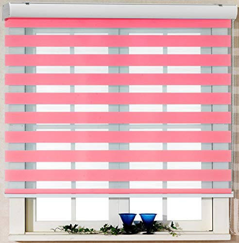 Foiresoft Custom Cut to Size, [Winsharp Basic, Pink, W 36 x H 82 inch] Zebra Roller Blinds, Dual Layer Shades, Sheer or Privacy Light Control, Day and Night Window Drapes, 20 to 110 inch Wide