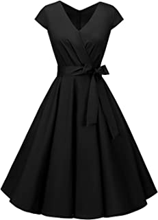 BeryLove Women's Rockbilly 1950s Vintage Dress Cocktail Swing Dress with Cap-Sleeves
