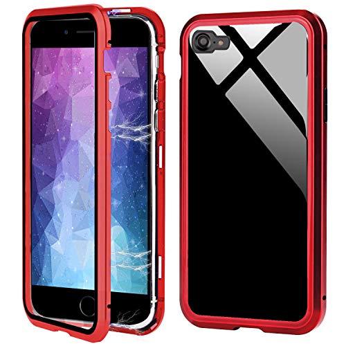 Für iPhone 7 Hülle Magnet,iPhone 8 Hülle 360 Grad Magnetisch, Dünn Metallrahmen Magnetische Adsorption Handyhülle Gehärtetes Glas Vorne und Hinten Komplett Schutzhülle für iPhone New SE/7/8 4.7