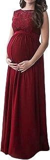 Damen Umstandskleid Festlich Kleid aus Spitze Kurzarm Mutterschafts Schwangerschaftskleid Frauen Lange Kleidung Elegante Hochzeit Abendkleid Krankenpflege Mama Maxikleid f/ür Fotografie St/ützen S-4XL