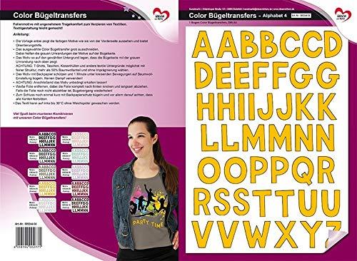 Color Bügeltransfers, DIN A4, ABC, Alphabet   Buchstaben auf Transfer-Folien für Textilien wie T-Shirts & Taschen   Transfer-Bilder schnell & einfach aufbügeln   DIY Textildesign (goldgelb)