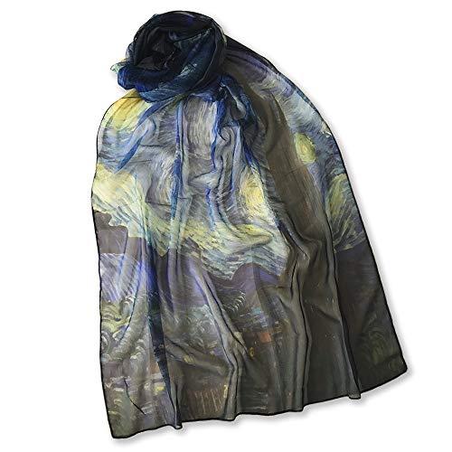 All sas Pasmina - Pañuelo de seda Van Gogh | Noche estrellada