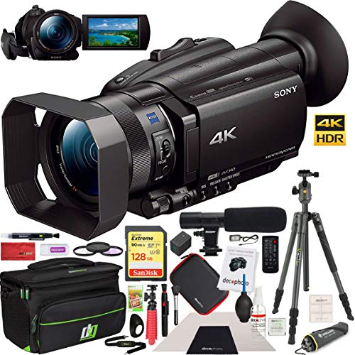 Sony FDR-AX700/B 4K HDR Camcorder Bundle with 128GB Memory Card, Aluminum Travel Tripod with Ball Head, Camera Bag, Shotgun Microphone, 62mm Filter Kit and Cleaning Kit
