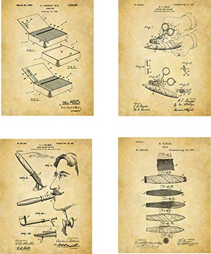 Cigar Patent Wall Art Prints - set of Four (8x10) Unframed - wall art decor for smokers