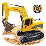 RC Excavator Toy Trucks Construction Toys, Boys Excavator Toy Vehicles Car Toys for 3 4 5 6 7 8 Year Old Boys,Best Birthday Christmas Gifts for Kids