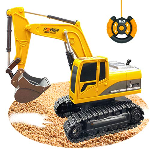 Die-Cast Full Functional Remote Control Excavator Construction Vehicles Car Toy for Kids Boys Girls Adults Birthday Christmas Gifts - RC Excavator & Tractor & Tank Truck Toy