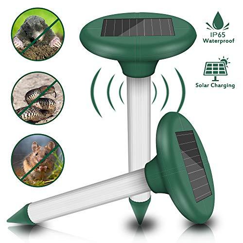 Molbory 2 Stück Solar Maulwurfabwehr, Ultrasonic Solar Maulwurfschreck, Maulwurfbekämpfung, Wühlmausschreck, Mole Repellent, Schädlingsbekämpfung mit IP56 für Den Garten