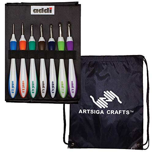 addi Knitting Needles Crochet Hook Swing Standard Set Bundle with 1 Artsiga Crafts Project Bag