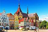 Rostock Altstadt Art XXL Wandbild Kunstdruck Foto -Poster-