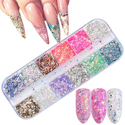 Comdoit Holographic Nail Sequins Glitter Nail Accessories Colorful 3D Nail Glitter Flakes Acrylic Nails Powder Shiny Manicure Designs Nail Sparkle Glitter Tips Nail Art Decor (12 Colors)