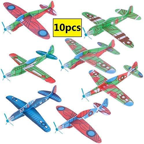 GOLDGE 10 PCS Aviones planeadores de Plastico+ EVA,Aviones planeadores Juguetes educativos para niños Adecuado Fiesta, Actividades para Padres e Hijos,Premios de Clase, Regalos, etc