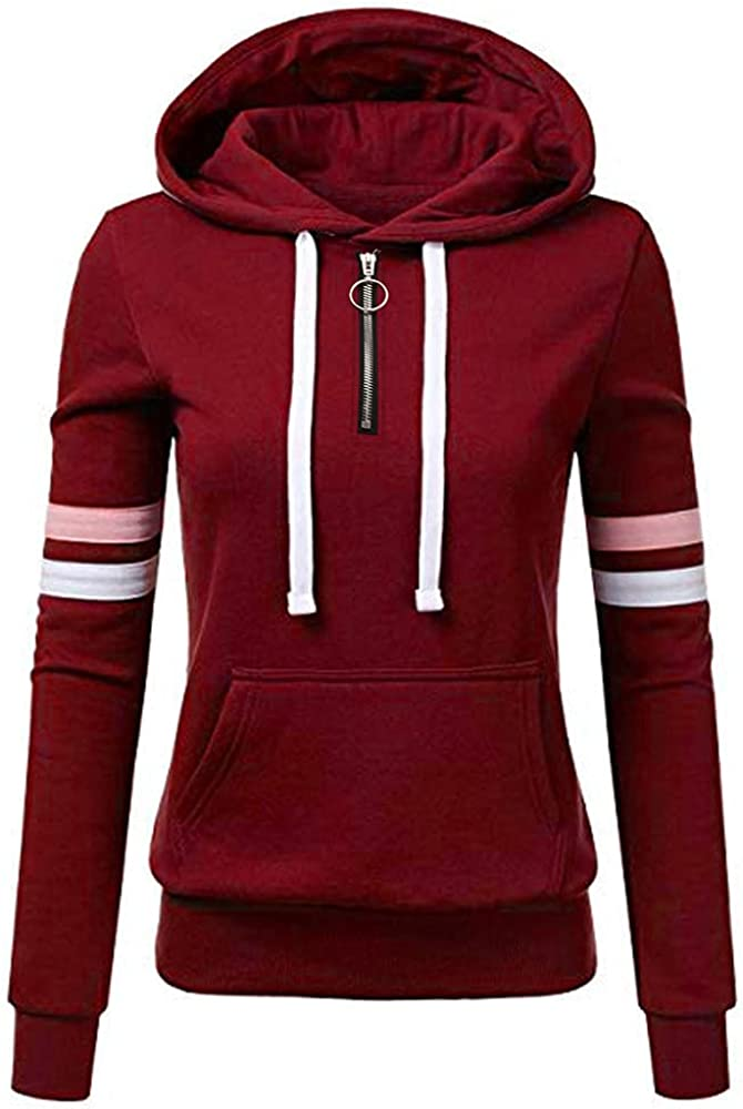 Olivcker Hoodies for Women Zipper Drawstring Striped Sweatshirt Pocket Solid Color Loose Pullover Long Sleeve Tunic Tops