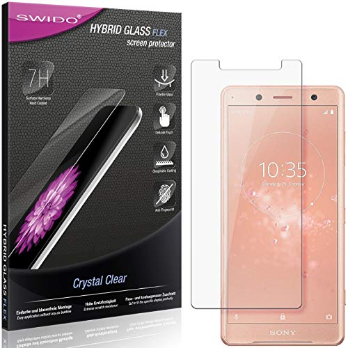SWIDO Panzerglas Schutzfolie kompatibel mit Sony Xperia XZ2 Compact Bildschirmschutz-Folie & Glas = biegsames HYBRIDGLAS, splitterfrei, Anti-Fingerprint KLAR - HD-Clear