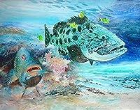 QMGLBG 5Dダイヤモンド塗装 海の大きな魚、ダイヤモンドの絵、ラインストーンのクリスタル工芸品、家の壁の装飾用品30*40cm