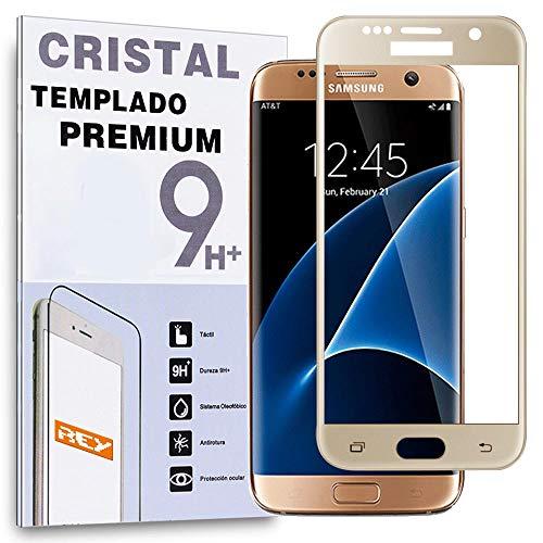 REY Protector de Pantalla Curvo para Samsung Galaxy S7 Edge, Oro, Cristal Vidrio Templado Premium, 3D / 4D / 5D