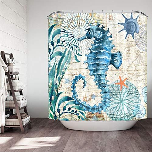FeiliandaJJ Duschvorhang 180x180cm Blau, Badevorhänge 3D Seepferdchen Muster Wasserdicht Anti-Schimmel Anti-Bakteriell Badewanne Vorhang Shower Curtains für Badezimmer Hotel (Himmelblau)