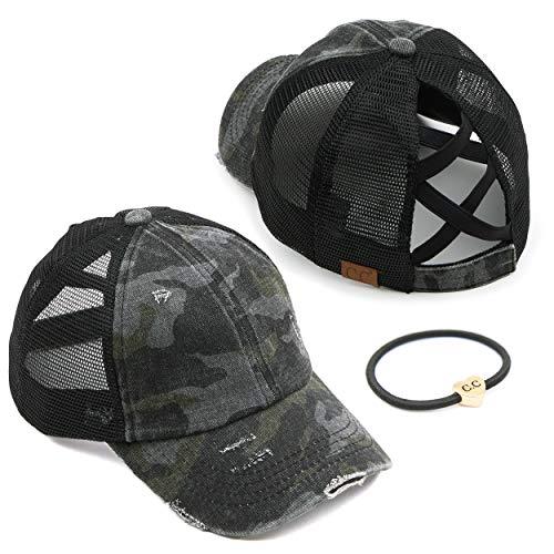 C.C Exclusives Washed Distressed Cotton Denim Criss-Cross Ponytail Hat Adjustable Baseball Cap Bundle Hair Tie (BT-783) (A Elastic Band-Black/Camo)