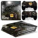 46 North Design Playstation 4 PS4 Pro Folie Skin Sticker Konsole Zombie Horror aus Vinyl-Folie Aufkleber Und 2 x Controller folie