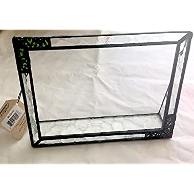 J Devlin Pic 352-46H Stained Glass Picture Frame Tabletop 4x6 Horizontal Photo Frame Green with Metal Overlay Hummingbird Keepsake Gift