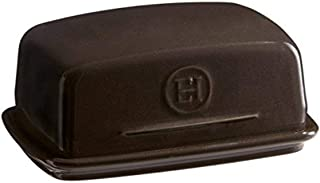 Emile Henry Ceramic Butter Dish in Charcoal Black