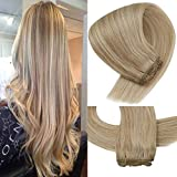 VeSunny Sew in Hair Extensions Blonde Highlights Human Hair Color #27 Honey Blonde Mixed #613 Bleach Blonde Hair Bundles Double Weft For Full Head 100G/set 16inch