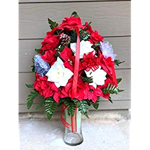 Starbouquets Cemetery Flowers Vase ~ Beautiful Red and Ivory Open Rose,Ranunculus Bush Flowers Mixture Cemetery Flowers for a 3 Inch Vase