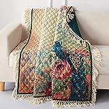 Barefoot Bungalow Eden Peacock Throw Blanket, 50 x 60-inch, Ecru