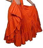 Plain 25 yarda yardas Tribal Belly Dancing Gypsy algodón falda de la danza ATS L36inch - Variación Color (NARANJA)