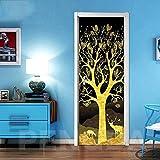 Mural de puerta 3D, póster con foto, papel tapiz, alce dorado, árbol de hoja caduca, PVC, pegatinas artísticas autoadhesivas para puertas para puertas interiores